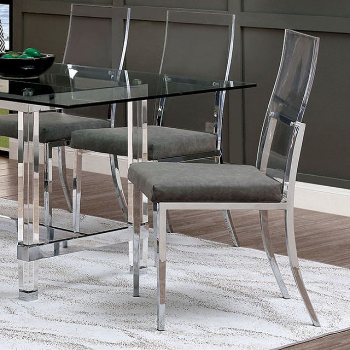 Furniture of America Casper Chrome Acrylic Finish Dining Chair Set of 2