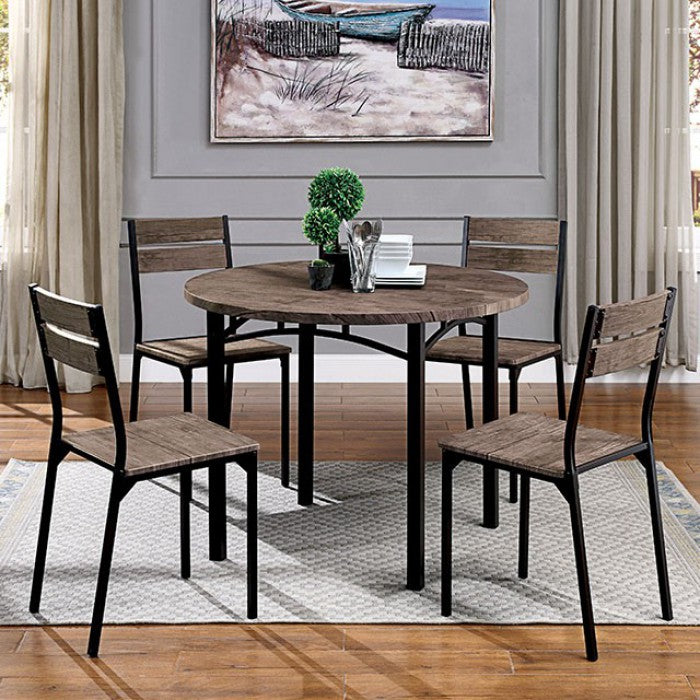 Furniture Of America Meade Brown Wood Finish 5 Piece Round Dining Table Set