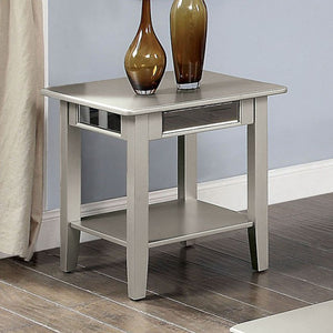 Furniture Of America Celestine Silver Mirror Finish End Table