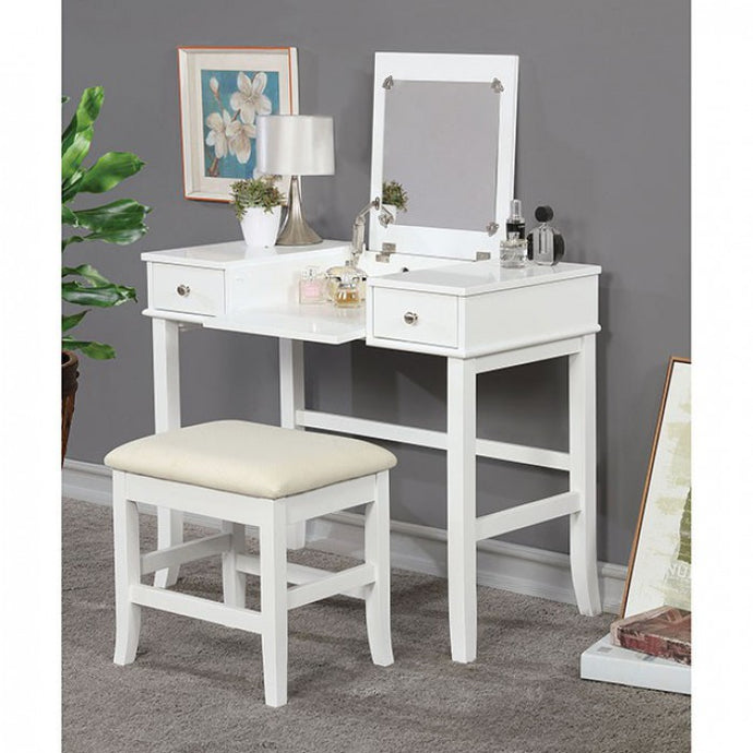 Furniture Of America Kelis White Wood Finish Vaniy Set With Stool