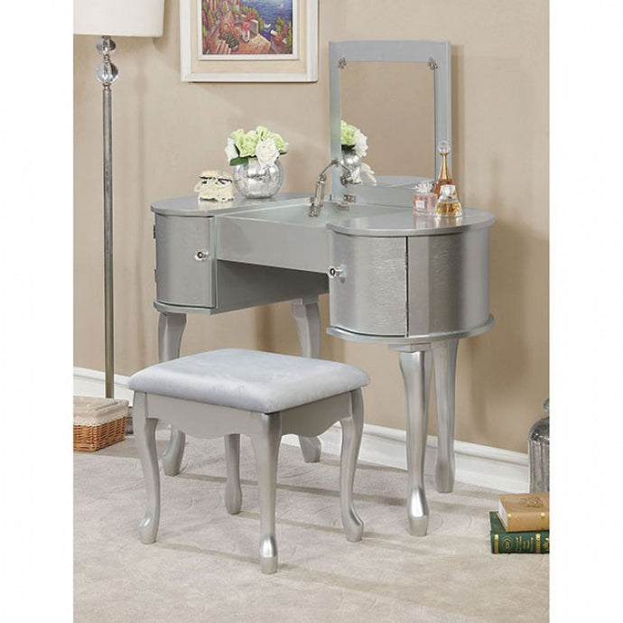 Furniture Of America Lilita Silver Wood Finish Vanity Set With Stool