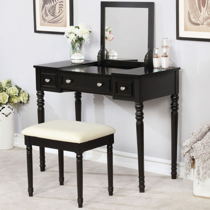 Furniture Of America Baylee Black Wood Finish Vanity Desk With Stool