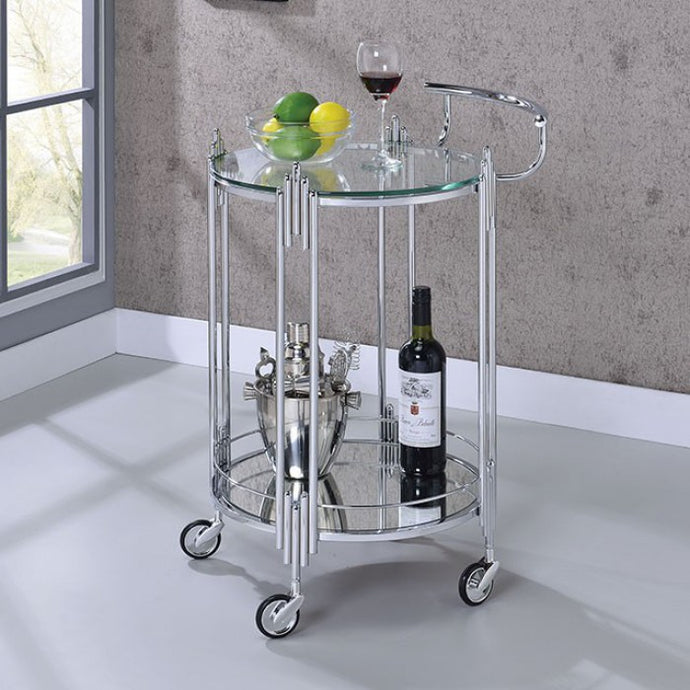 Furniture Of America Ebbe Glass Finish Service Cart