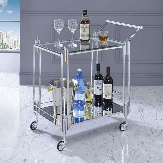Furniture Of America Ebba Glass Finish Service Cart