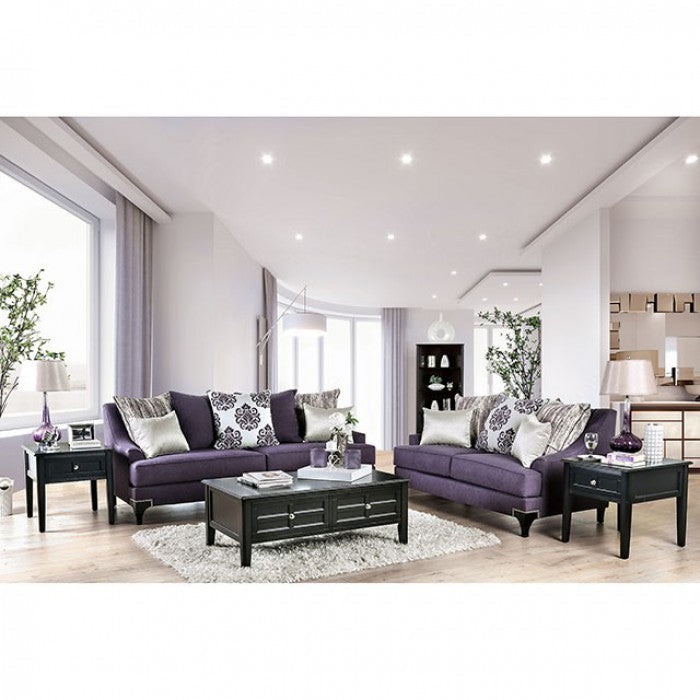 Furniture Of America Sisseton Purple Chenille Finish Living Room Set