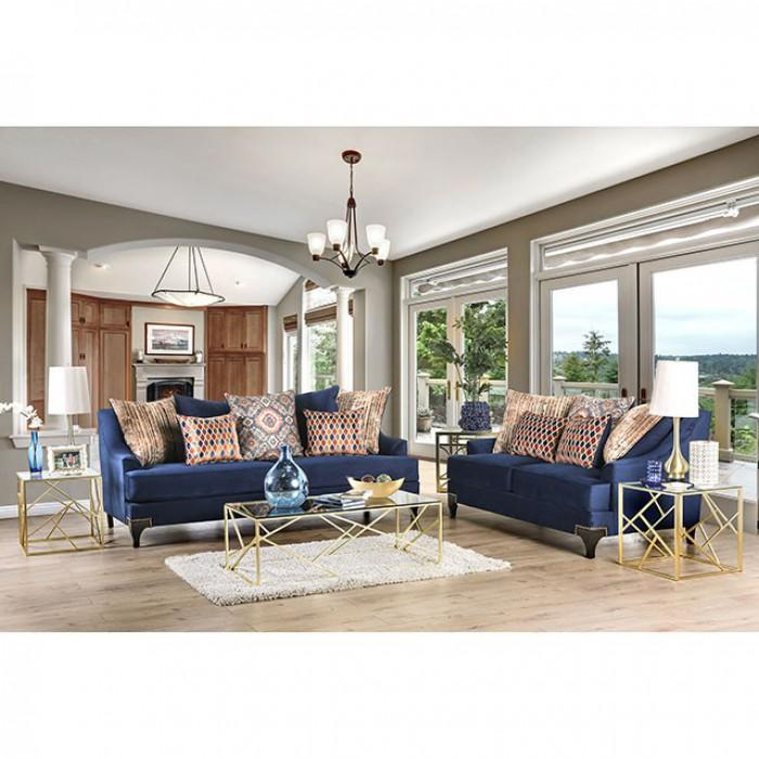 Furniture Of America Sisseton Navy Chenille Finish Living Room Set