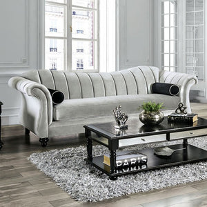 Furniture Of America Marvin Pewter Chenille Finish Sofa