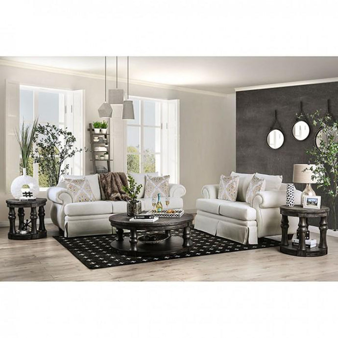 Furniture Of America Bergen Ivory Linen Finish Living Room Set