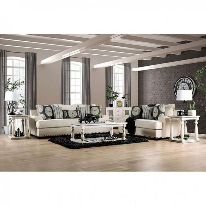 Furniture Of America Germaine Ivory Linen Wood Finish Living Room Set