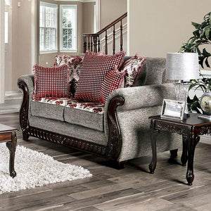 Furniture Of America Whitland Gray And Red Chenille Finish Loveseat