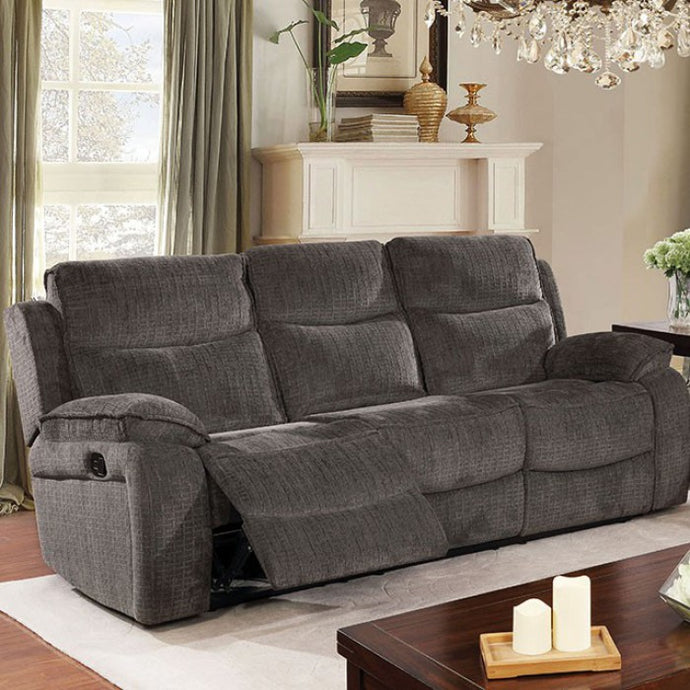 Furniture Of America Selfridge Gray Fabric Finish Reclining Sofa