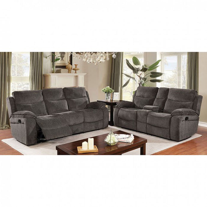 Furniture Of America Selfridge Gray Fabric Finish Reclining Living Room Set
