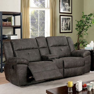 Furniture Of America Chichester Brown Fabric Finish Recliner Sofa