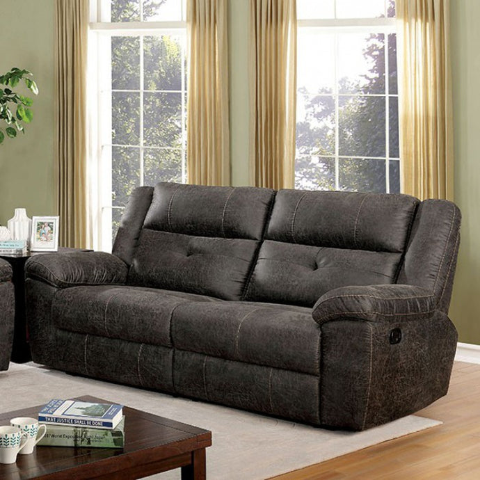 Furniture Of America Chichester Brown Fabric Finish Recliner Loveseat