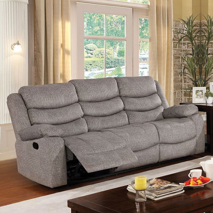 Furniture Of America Castleford Gray Fabric Finish Recliner Sofa