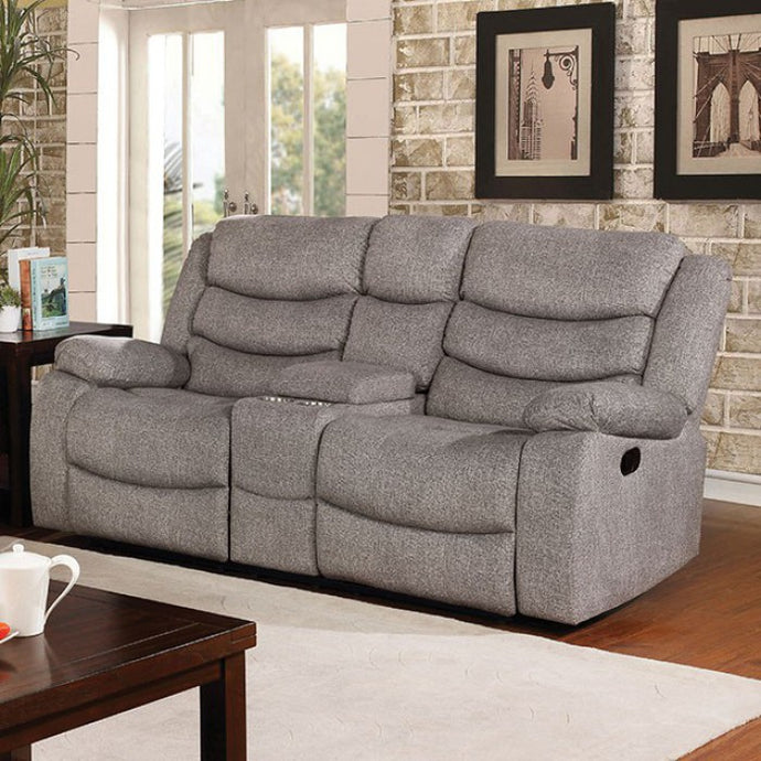 Furniture Of America Castleford Gray Fabric Finish Recliner Loveseat