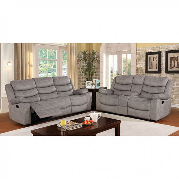 Furniture Of America Castleford Gray Fabric Finish Recliner Sofa Set