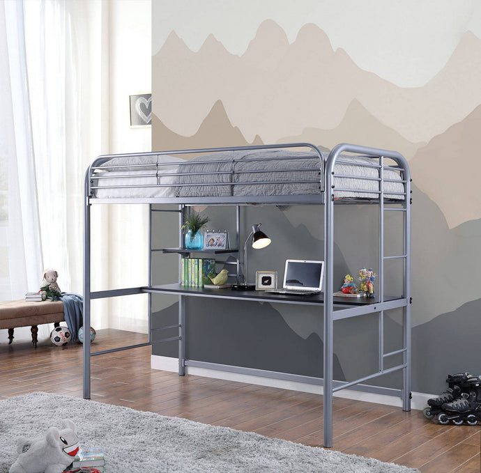 Furniture of America Opal III Transitional Silver Twin Loft Bed