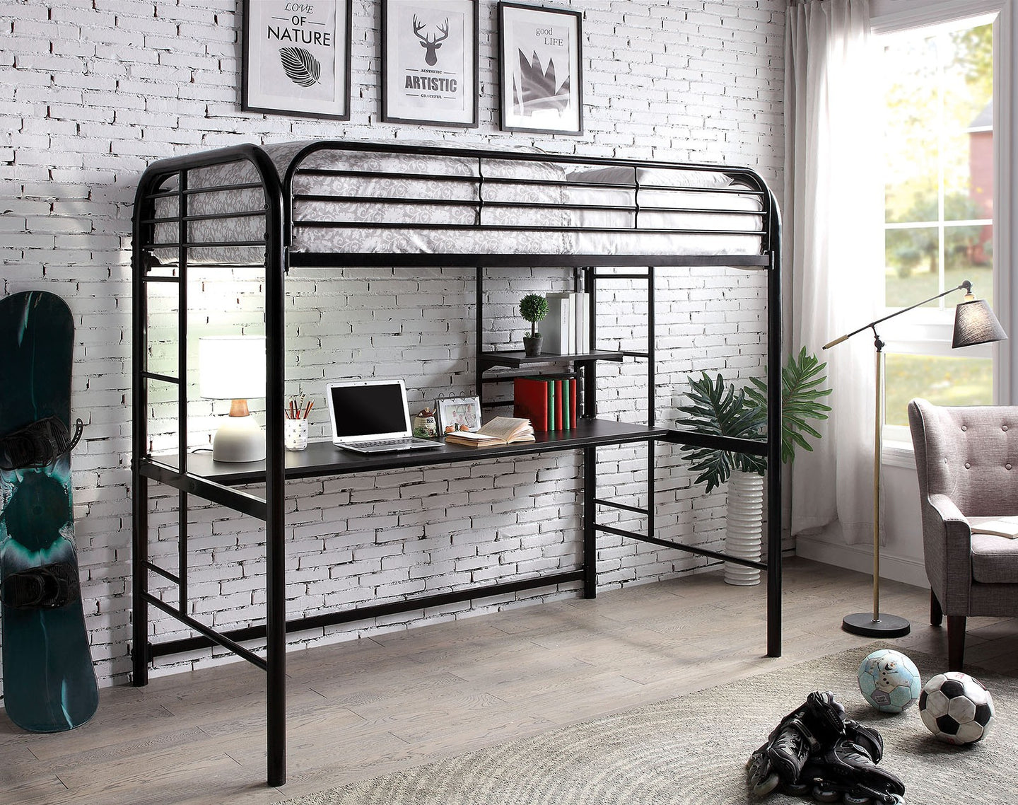 Furniture of America Opal III Transitional Black Twin Loft Bed