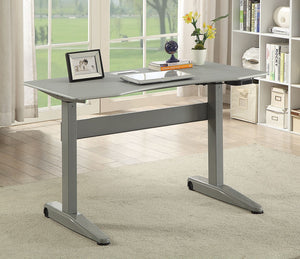 Furniture of America Kilkee Gray Adjustable Height Desk Small