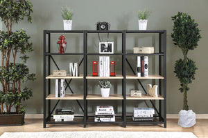 Furniture of America Segovia Industrial Natural Tone & Black 4 Tier Shelf