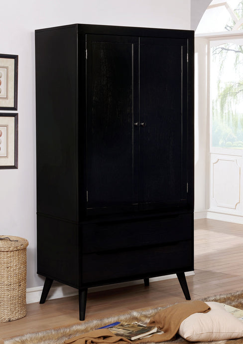 Furniture of America Lennart II Black Wood Armoire