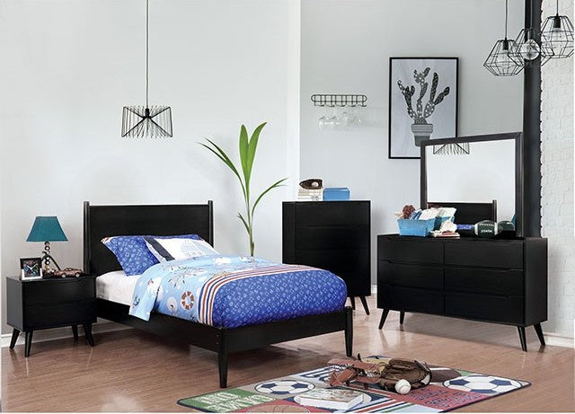 Furniture of America Lennart II 4 Piece Black Full Bedroom Set