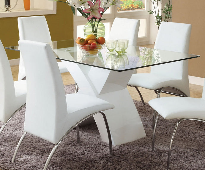 Furniture of America Wailoa White Dining Table with Glass Top