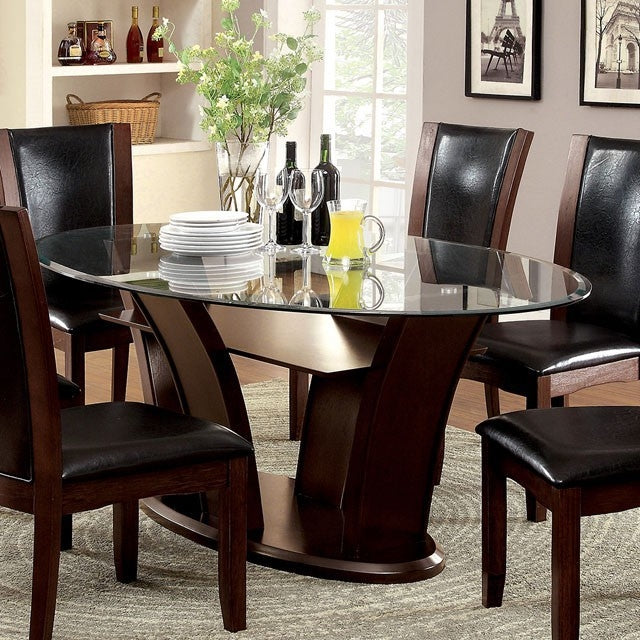 Furniture of America Manhattan Dark Cherry Oval Dining Table