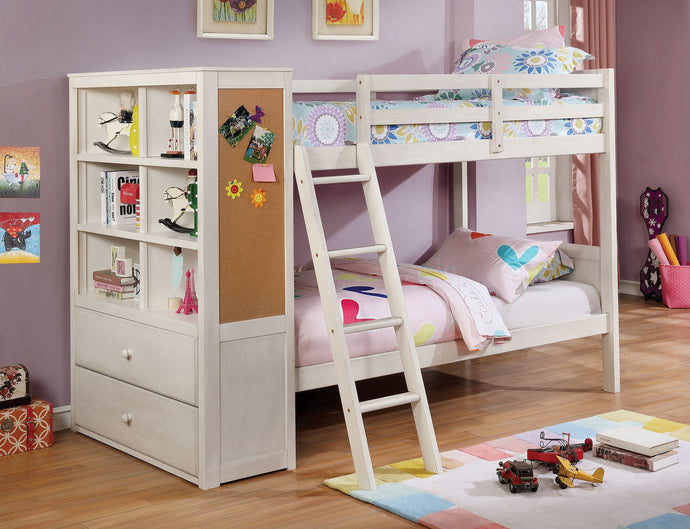 Furniture of America Athena White Twin Over Twin Bunk Bed With Bookcase
