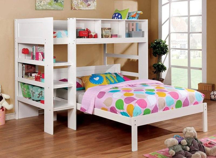 Furniture of America Annemarie White Wood Twin over Twin Loft Bed