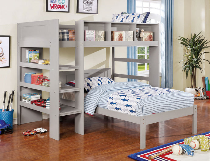 Furniture of America Annemarie Gray Wood Twin over Full Loft Bed