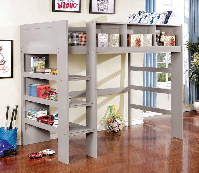 Furniture of America Annemarie Gray Wood Twin Loft Bed