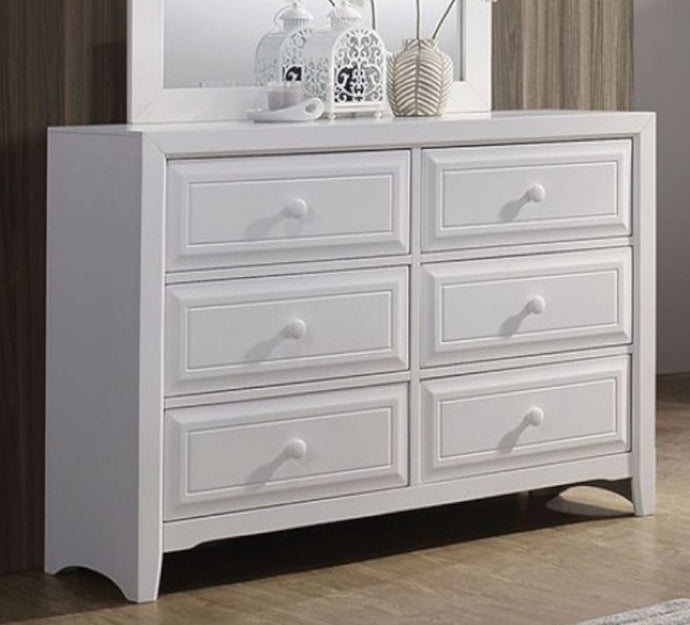 Furniture of America Kirsten White Wood Dresser with 6 Drawers