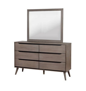 Furniture of America Lennart Gray Finish Wood Dresser Mirror Set