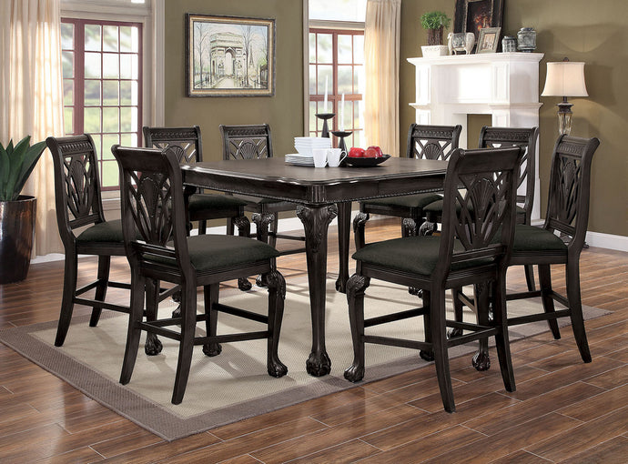 Furniture of America Petersburg Traditional Dark Gray Counter Height Table Set