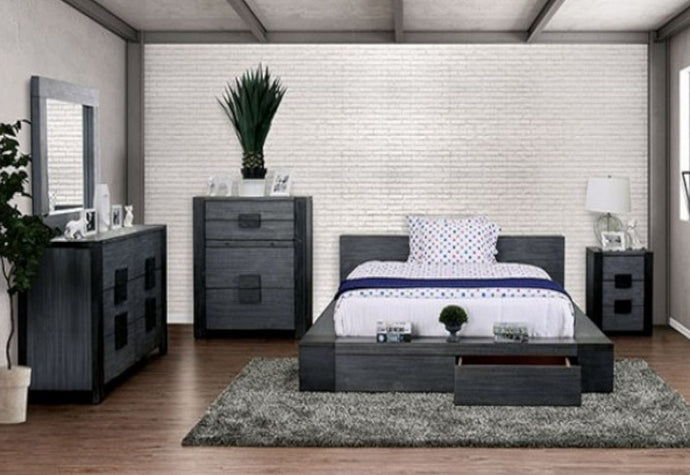Furniture of America Janeiro 4 Piece Gray Wood Eastern King Bedroom Set