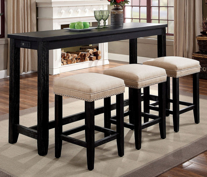 Furniture of America Caerleon 4 Piece Black Counter Height Table Set