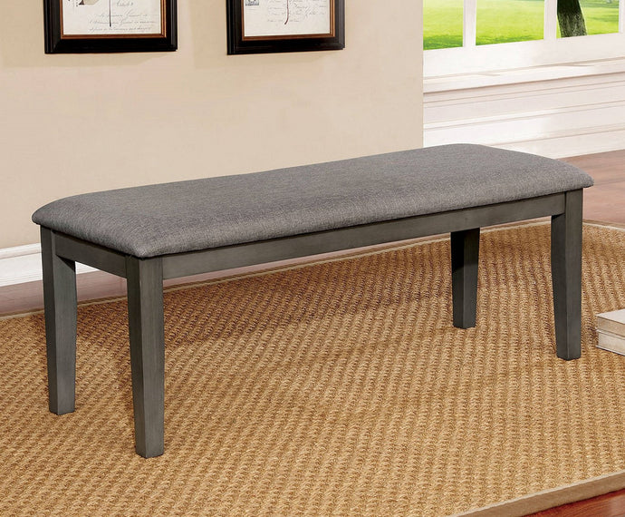 Furniture of America Hillsview Gray Wood Upholstered Bench