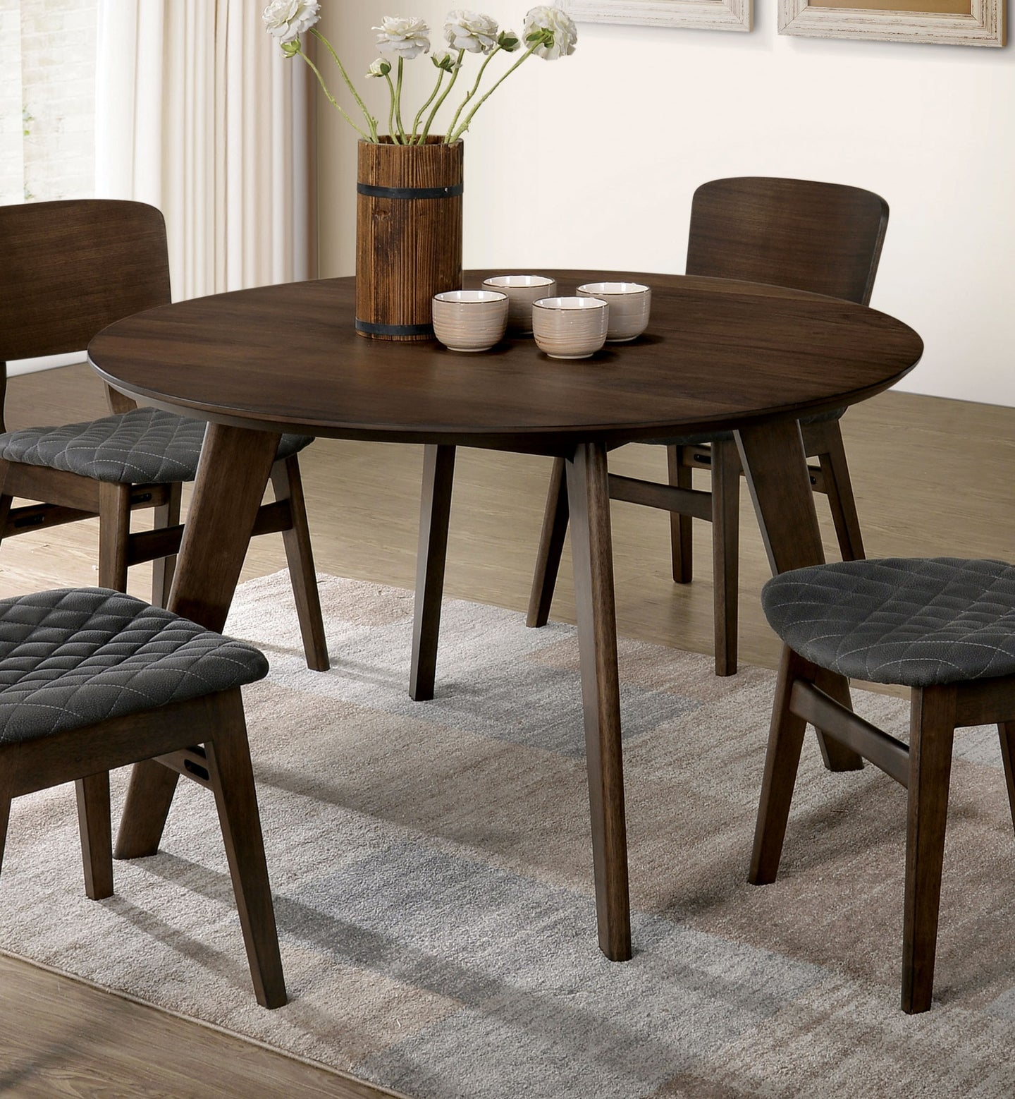 Furniture of America Shayna Gray Walnut Wood Round Dining Table