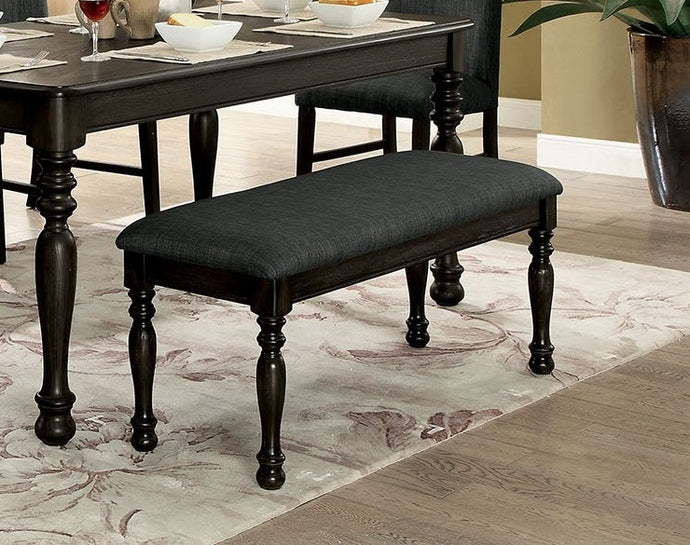 Furniture of America Siobhan II Dark Gray Linen-Like Fabric Bench