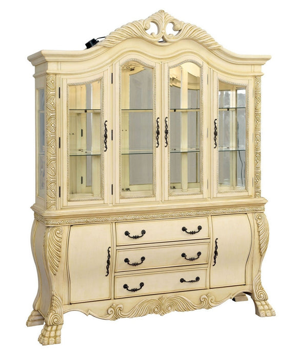 Furniture of America Wyndmere White Hutch & Buffet with Touch Lights