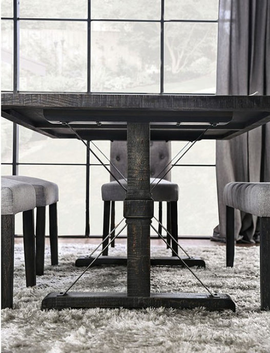Furniture of America Alfred Rustic Antique Black Wood Dining Table