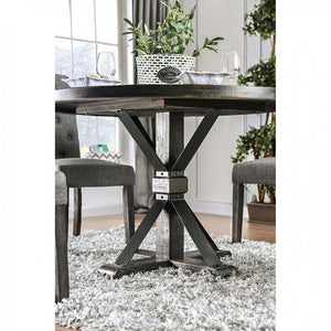 Furniture of America Alfred Rustic Antique Black Round Dining Table