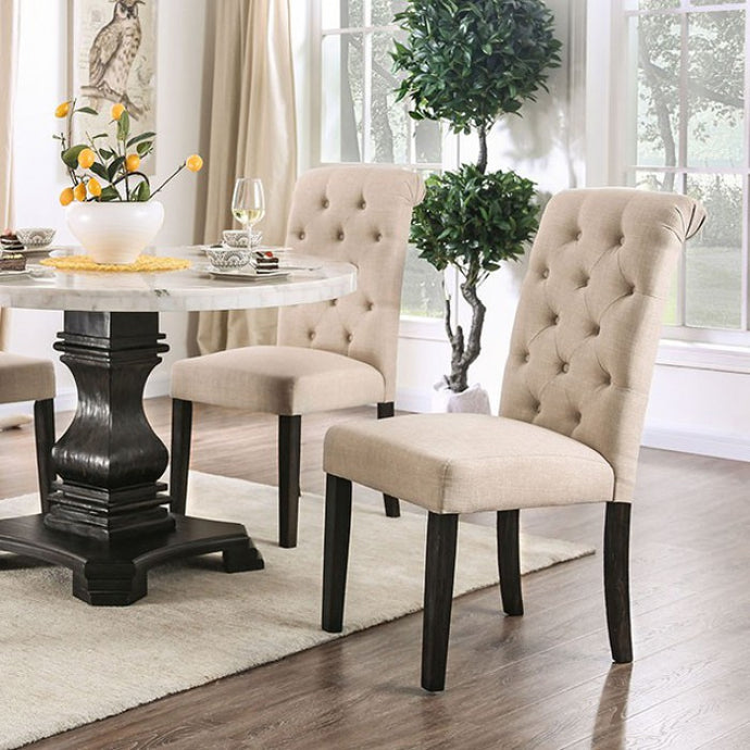 Furniture of America Elfredo White & Antique Black Round Dining Table