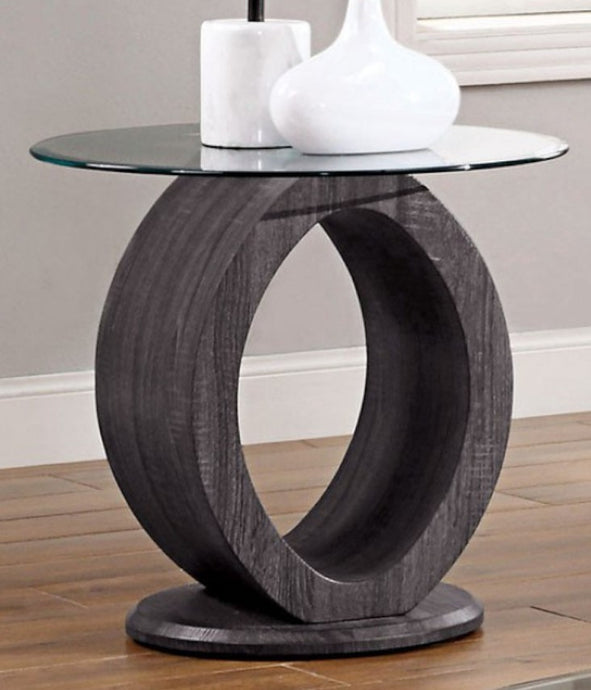 Furniture of America Lodia Gray Wood Tempered Glass End Table