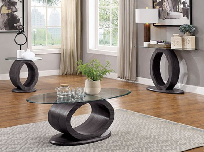 Furniture of America Lodia 3 Piece Gray Wood Tempered Glass Coffee Table Set