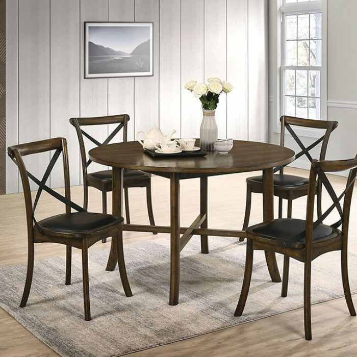 Furniture of America Buhl I Transitional Burnished Oak Round Dining Table