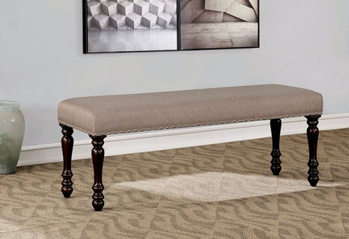 Furniture of America Hilma Beige & Espresso Dining Bench