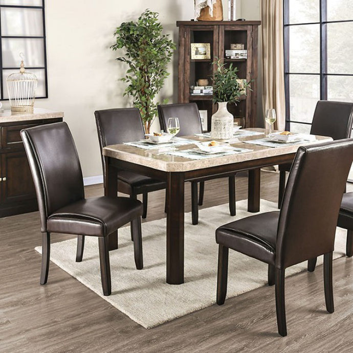 Furniture of America Faven White & Dark Walnut Marble Top Dining Table